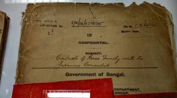 The files declassified on Netaji Subhash Chandra Bose in Kolkata (Photo by Shubham Dutta), Source:IndianExpress